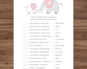 Celebrity Baby Names Pink Elephant / Celebrity Baby Game / Pink Baby Girl Shower Matching Game / Printable Digital / INSTANT DOWNLOAD