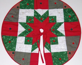 Patchwork Quilted Miniature Tree Skirt - 20 inch diameter - MADE TO ORDER