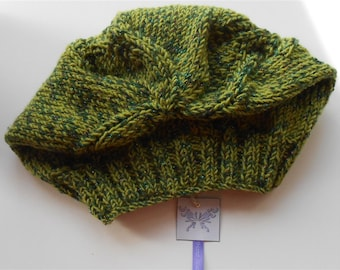 Green Hat Hand Knit Slouchy Beanie, Knitted Unisex Hats