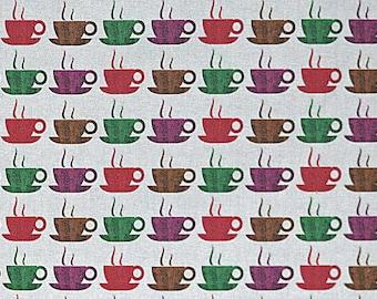 Designer Java Coffee Cups Teacups fabric