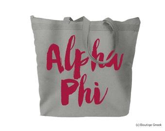 Alpha Phi Brush Script Sorority Tote