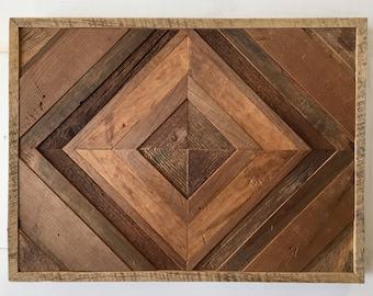 Reclaimed Barn Wood Wall Art (Diamond Pattern) FREE SHIPPING!