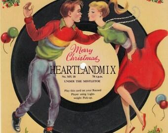 1950's Record Mistle Toe Vintage Christmas Image Digital Download Printable