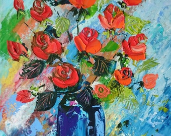 My roses; Original palette knife oil paintingwith texure details; framed; roses painting;framed