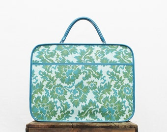 Turquoise Floral Weekender Bag - Vintage 1960s Luggage - Small Suitcase