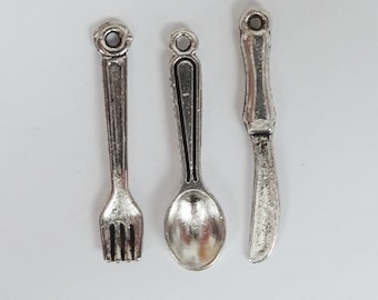 15 (5 sets) Fork, Spoon & Knife Charms