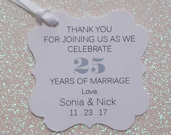 WEDDING ANNIVERSARY Favor Tags * 25th Anniversary Thank You Favor Tags *PERSONALIZED *Assembled with White Satin Ribbon