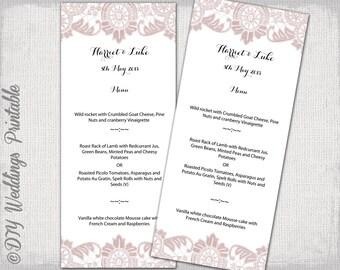 "Menu template Dusky pink Lace wedding menu templates -""Antique Lace"" pink digital printable menu -YOU EDIT template - instant download"