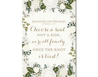 Printable Choose a Seat, Not a Side Wedding Sign - Wedding Sign - Seating Sign - Pick a Seat - Ceremony Sign - Wedding Poster #CL120