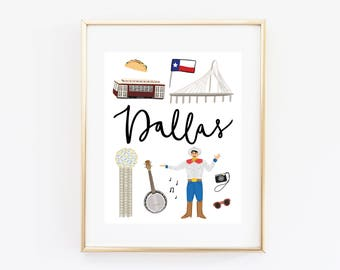 Illustrated Dallas, Texas Art Print