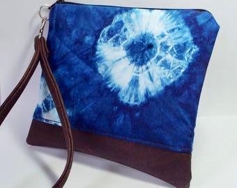Vegan Purse/Wristlet in Blue Shibori Dye with Cork Leather