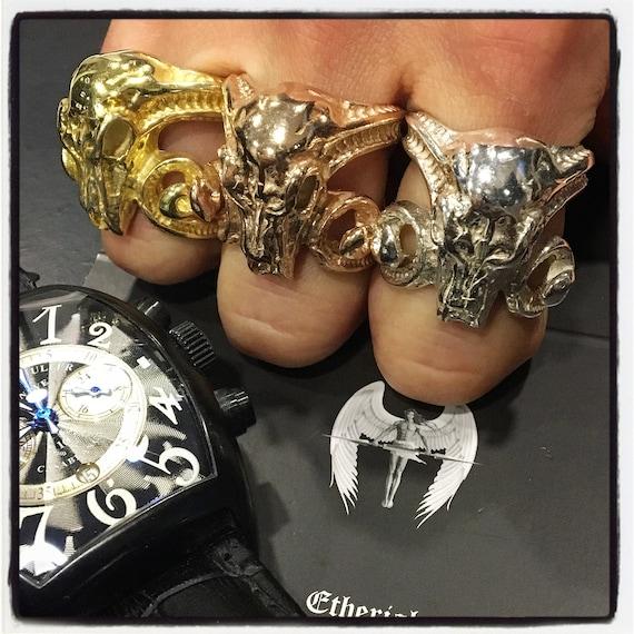 Etherial Jewelry - Rock Chic Talisman Luxury Biker Custom Handmade Artisan Pure Sterling Silver .925 Luxury Designer Ram Antlers Skull Ring