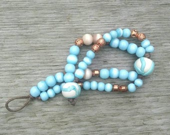 Turquoise Cats-eye Bracelet, Beach Wear, Knotted Two-Strand Bracelet,  Copper and Clay Beads