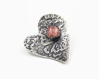 Heart Pendant, Pink Rhodochrosite and Textured Sterling Silver