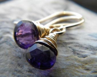 Purple amethyst handmade earrings - February birthstone - gold filled gemstone wire wrapped jewelry