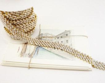 15mm Gold Rhinestone Diamond Row Chain in Clear Crystal Trim for Weddings, Accessories, Applique 1 Feet Qty)