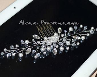 Bridal hair comb, Gold comb, Wedding hair comb, Bridal headpiece, bridal hair accessories, Pearl hair comb, hair jewelry wedding