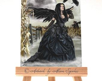 ACEO - Corn Moon, raven fairy, masquerade angel, fairy mask, crow woman