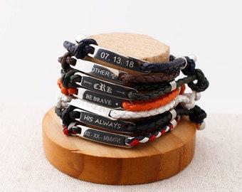 Personalized Braided Bracelet, Custom man bracelet, Couple bracelet,  College Graduation Gift, Inspirational Men Bracelet, Father's Day Gift