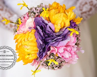 Bright bouquet with matching boutonniere.