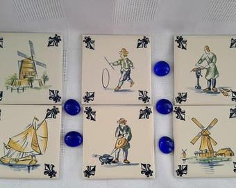 KLM Polychrome Square Tiles, Set of Six, Business Class