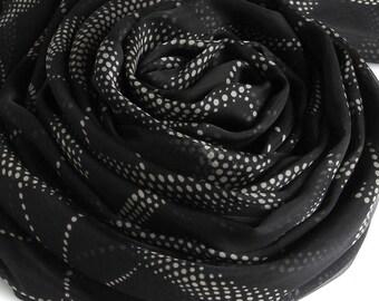 Black Silk Chiffon Scarf with Polka Dot Print - Dot Printed Black Silk Scarf - Black Silk Scarf- AS2017-N2