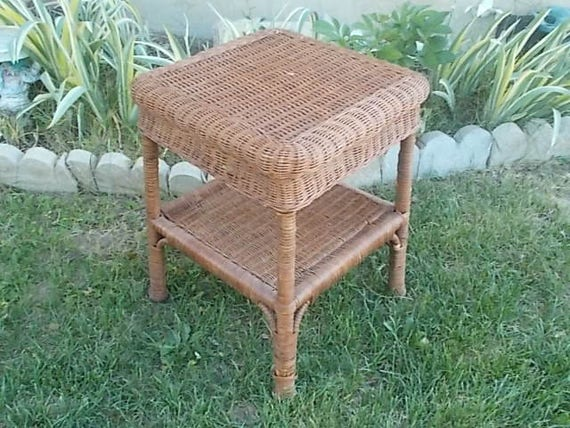 Small Square Accent Table: Wicker Table Small Square End Table Table Night Stand