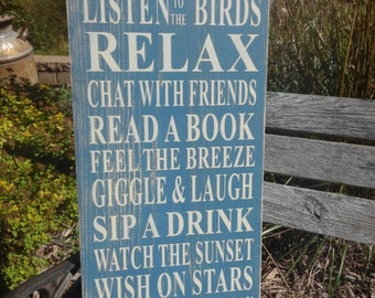 Porch Rules Sign primitive Typography Word Art  12x24