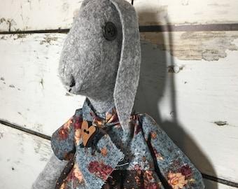 primitive folk art wool felt rabbit doll - wool felt rabbit - farmhouse decor - cottage decor - handmade rabbit doll - folk art rabbit