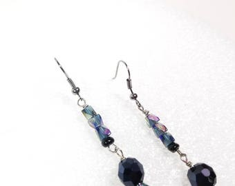 Iridescent dangle drop earrings with black accent bead