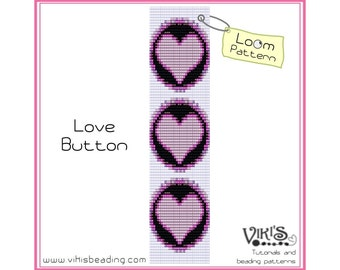 Loom Bead Pattern - Love Button -  INSTANT DOWNLOAD pdf -Discount codes are available