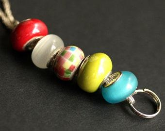 Beaded Lanyard. Checkered Badge Holder. Id Lanyard. Turquoise, Lime Yellow, and Red Badge Lanyard Badge Necklace. Glass Lanyard Badge Leash.