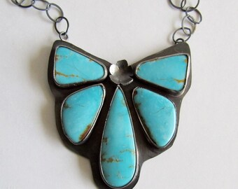 Kingman Turquoise Cluster Necklace - Turquoise Butterfly Necklace - December Birthstone - Anniversary Gift
