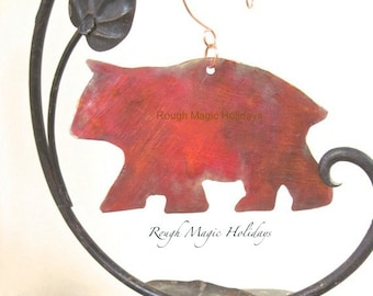 Copper Bear Rustic Maine Souvenir, Christmas Ornament, Xmas Tree Decoration, Woodland Animal Small Wall Hanging, Nature Lover Gift