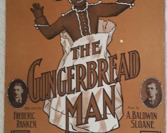 Music THE GINGERBREAD MAN sheet music Vintage