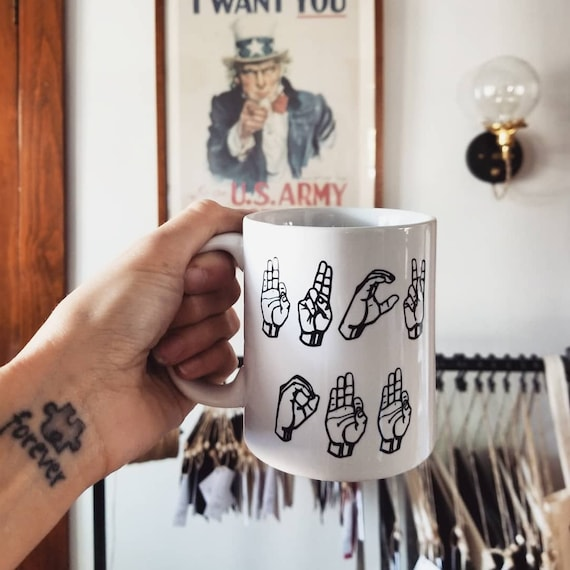 Handmade Sign Language FUCK OFF Coffee Mug- Handmade Fuck Off Coffee Cup - F Word Coffee Cup