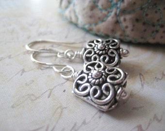Bali Bead Earrings, Sterling Silver, Ornate Beads, Solid Sterling, Dangle Earrings, candies64, Womens Jewelry