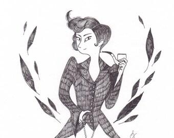 "Illustration originale - encre ""Miss Peregrine"""