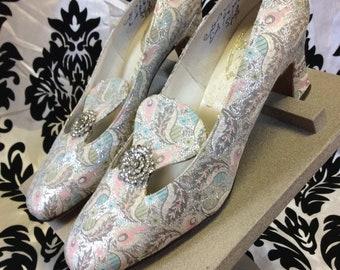 60's Metallic Brocade Heels with Rhinestones