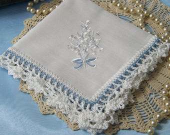 Something old, Something Blue, Bridal Handkerchief, Hanky, Hankie, Hand Crochet, Lace, Lacy, Embroidered, Floral, Ready to ship