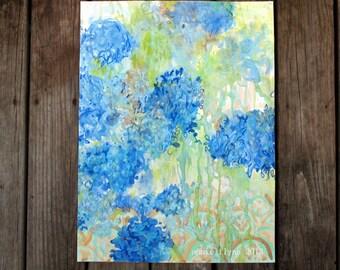Blue Hydrangeas On Lime