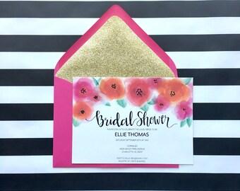 Bridal Shower Invitation, Floral Bridal Shower Invite, Printed Invitations with Lined Envelopes