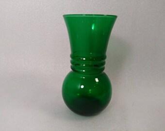 Vintage Emerald Green Glass Flower Vase