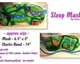 Mutant NINJA Turtles - blue or purple headband / Sleep Mask  / travel mask sleeping eye cover -