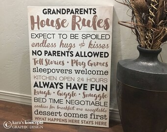 Grandparents House Rules Canvas Gallery Wrap - Grandma's House Rules