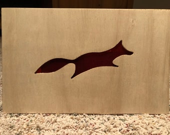 Stained Glass Fox in Wood