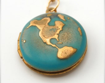 World locket etsy locket necklace world globe map jewelry locket necklace planet earth jewelry brass gold on long chain galaxy turquoise ocean sea aloadofball