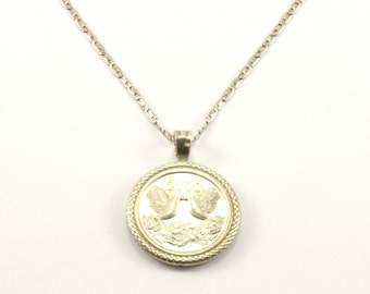 Vintage The Millennium A Time For Peace Love Hope Unity Round Shape Necklace 925 Sterling NC 843-E