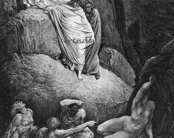 Virgil Shows Dante The Shade Of Thais Inferno Canto 18 Gustave Dore Vintage Engraving To Frame