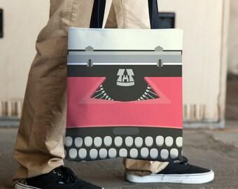 Gifts For Writers, Book Lovers Gift, Book Tote Bag, Typewriter Bag, Large Tote Bags, Waterproof Tote, Grocery Bags, Reader Tote Bag